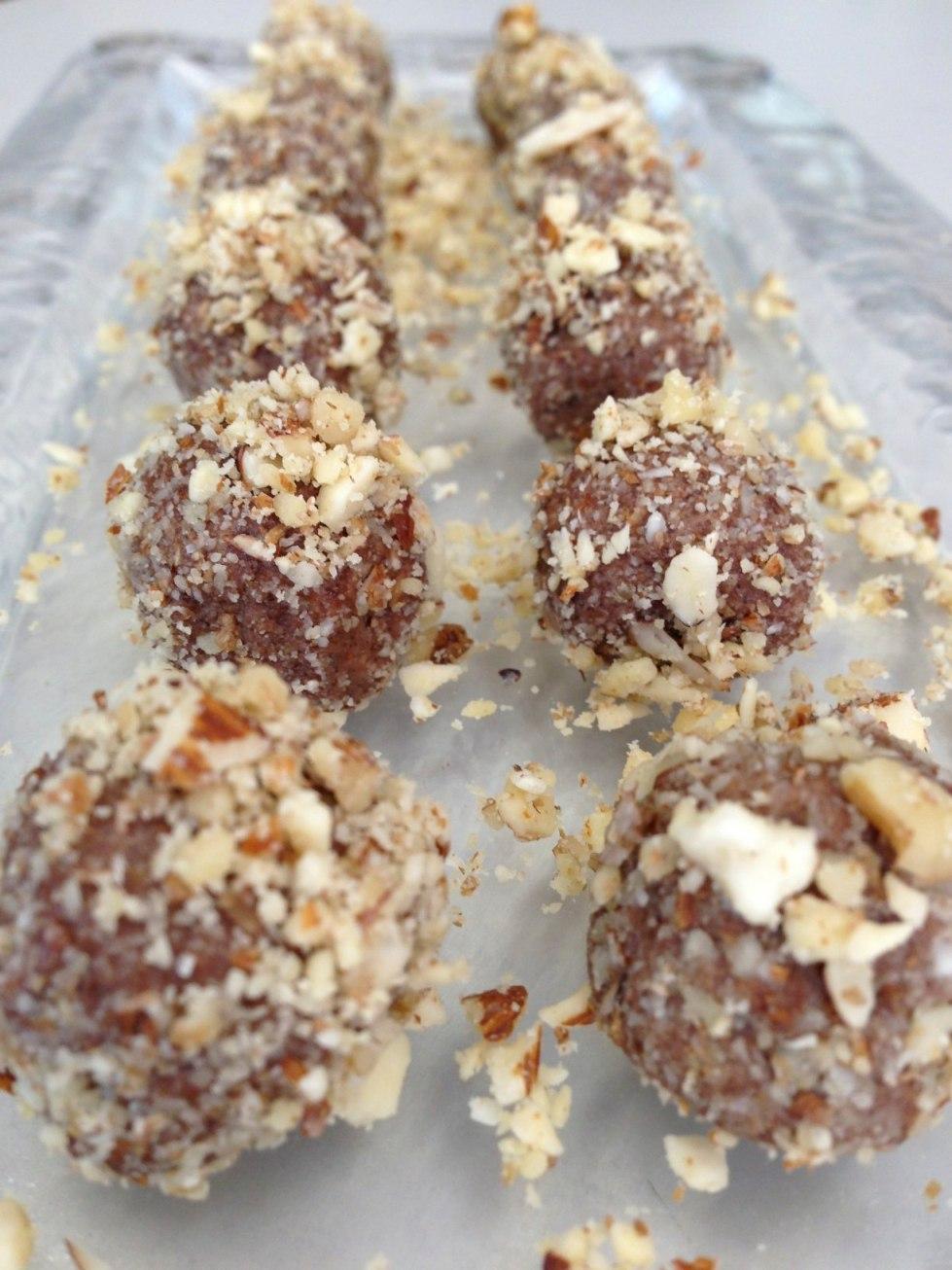 trufas de nueces y cacao